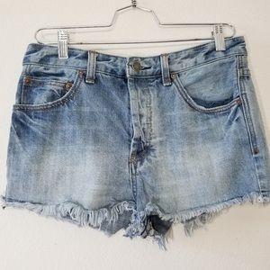Free people high rise denim shorts with frayed hem